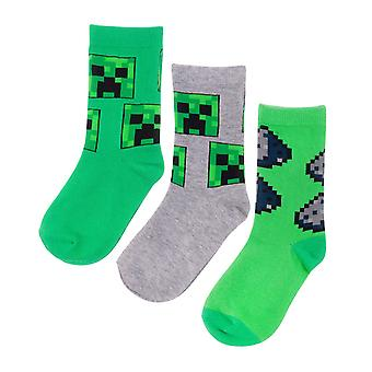 Minecraft Assorted Creeper Design 3 Pack Boy's Socks in Green and Grey