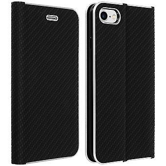 Flip lompakkokotelo, hiilikuitukansi Apple iPhone 7: lle, iPhone 8 : lle - musta