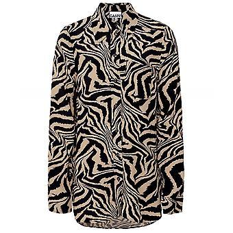 Ganni Zebra Print Crepe Shirt