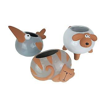 Set of 3 Ceramic Planters Glazed Hand Painted Taupe Cat Grey Bird White Sheep