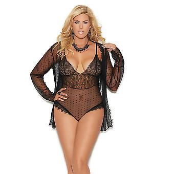 Womens Mesh Polka Dot Lace Bodysuit and Long Sleeve Jacket Lingerie Set