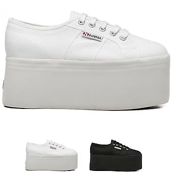 Womens Superga 2820 Cotw Platform Fashion Wedge Summer Lace Up Trainers