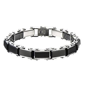 Men's Stainless Steel Black IP Rectangular Reversible Bracelet