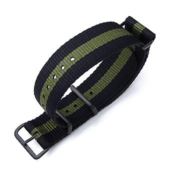 Strapcode n.a.t.o watch strap miltat  21mm or 22mm g10 nato military watch strap ballistic nylon armband, pvd black - black & military green