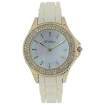 Henley Ladies Mother O Pearl Dial RoseTone Bezel White Rubber Strap Watch H06068