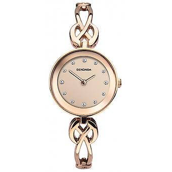 Sekonda Ladies Round Rose Dial Rose Gold Celtic Bracelet Watch 2645