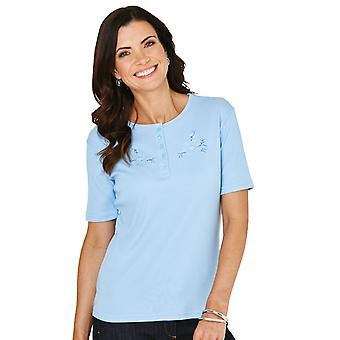 Chums Ladies Grandad Top With Embroidery