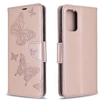Per la custodia Samsung Galaxy S20 Plus, Butterflies Modello PU In pelle Portafoglio Copertina con Stand & Lanyard, Oro