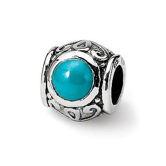 925 Sterling Silver afwerking Reflecties SimStars gemaakt gesimuleerde turquoise kubieke Zirconia Bead Charme Hanger Ketting J