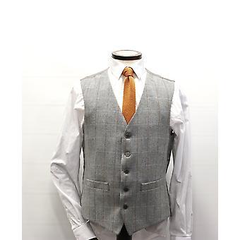 Grey Herringbone With Check Tweed Suit Waistcoat