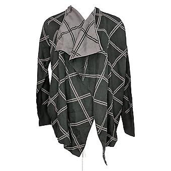 H by Halston Women's Sweater Plaid Open Front Cardigan Black A370213
