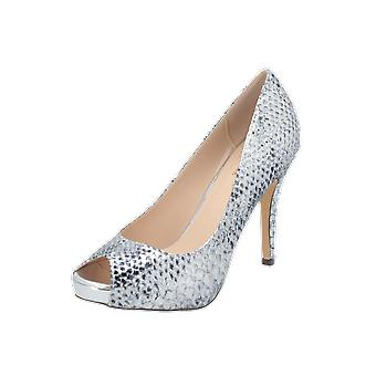 Paco Mena ZAPATO PEEP TOE, METALIZADO Women's Pumps Silver High Heels Stilettos