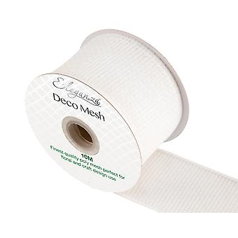 White 6cm x 10m Deco Mesh Roll for Wreath Making, Floristry & Crafts
