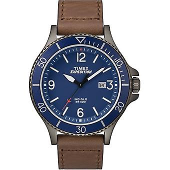 Orologio TW4B10700, Timex Men's TW4B10700 Expedition Ranger Brown/Gunmetal/Blue Leather Strap