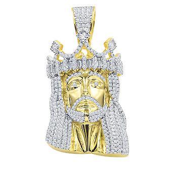 925 الجنيه الاسترليني الفضة مايكرو باف قلادة - قيصر يسوع الذهب