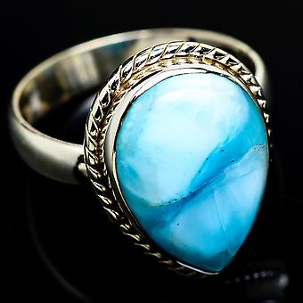 Larimar Ring Size 8 (925 Sterling Silver)  - Handmade Boho Vintage Jewelry RING7887