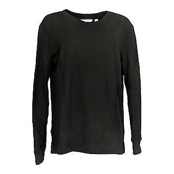 Jeder Frauen's Pyjama Top Waffel & Rippe Sweatshirt schwarz A293075
