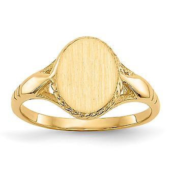 14k Yellow Gold Open rug Graveerbare Signet Ring Size 3 - 1,9 Gram