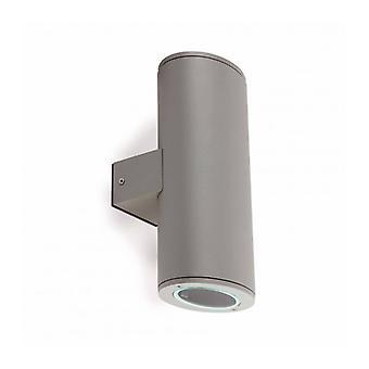 Gray Garden Wall Light Piston 2 Bulbs