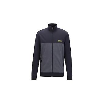 Hugo Boss Leisure Wear Hugo Boss Men's Blue Colour-block Zip Through Jacket