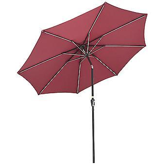 Yescom 9ft Solar Powered Patio Umbrella with Tilt and Crank 8 Ribs Outdoor Market Table Umbrella Backyard Parasol Terra