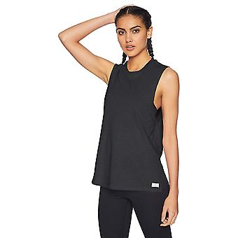 Brand - Core 10 Women's Relaxed Fit Plus Size Cotton Blend Gym Muscle Sleeveless Tank, Black, 1X