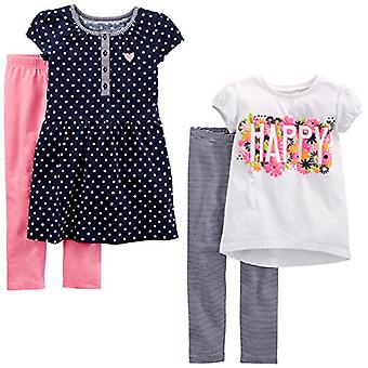 Simple Joys by Carter's Toddler Girls' 4-Piece Playwear Set, Navy Dot/Happy/P...