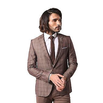Mens pointed collar plaid brown linnen blazer