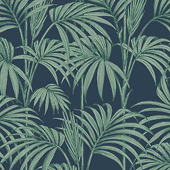 Julien Macdonald Honolulu Palm Green Navy Leaf Glitter Designer Wallpaper