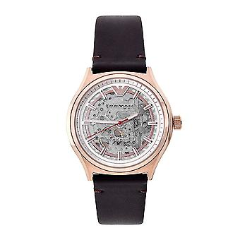 Armani Watches Ar60005 Men's Rose Gold Skeleton Automatic Watch With A Brown Leather Strap