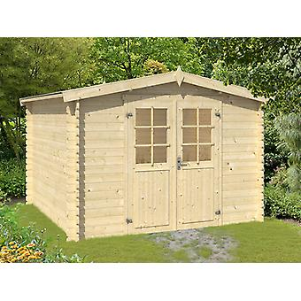 Wood Shed Trondheim 2.92x2.92x2.22 m, 28 mm, Natural