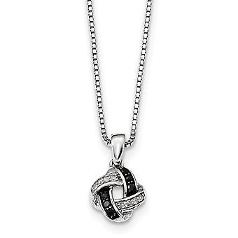925 Sterling Zilver gepolijst Prong set Gift Boxed Spring Ring Rhodium verguld zwart en wit Diamond Hanger Ketting Je