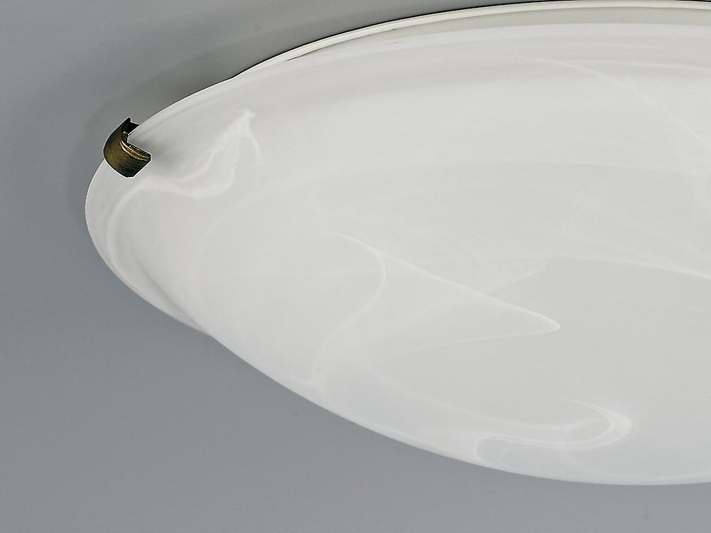 Inspired Deco - Chester - Flush Ceiling 400mm Round, 3 Light E27, Black, Gold with Frosted Alabaster Glass
