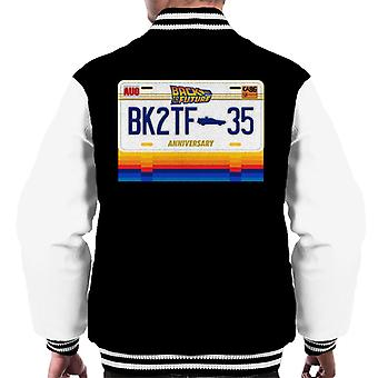 Back to the Future 35th Anniversary License Plate Design Men's Varsity Jacket