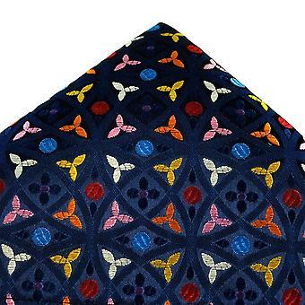 Kravaty Planet Van Buck Platinum Námorníctvo, červená, modrá, strieborná, oranžová, ružová a žltá vzorované hodvábne vreckovku