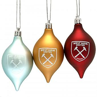 West Ham United 3pk Vintage Baubles