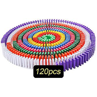 120pcs Domino Wooden Toys- Colored Domino Blocks Kits Early Learning Dominoes