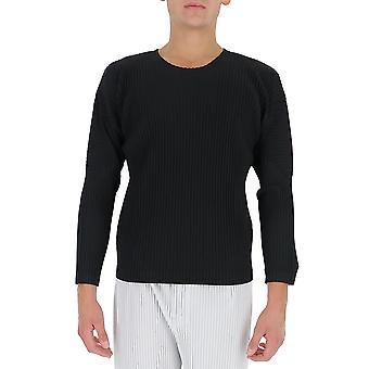 Homme Plissé By Issey Miyake Hp08jk02115 Men's Black Polyester Sweater