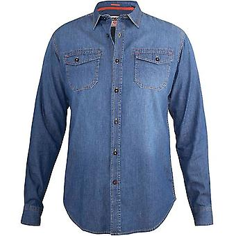 Duke D555 Hombres Big Tall King Size Scotsdale Vintage Denim Camisa - Azul Oscuro