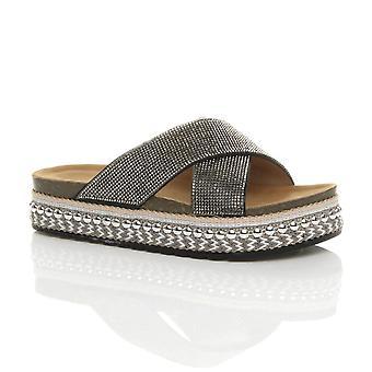 Ajvani naisten platform slip diamante nasta espadrille sandaalit