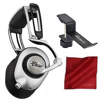 Blå ella planar magnetiska hörlurar med inbyggd audiofil förstärkare, svart och tillbehör bunt