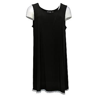 Attitudes by Renee Women's Top Como Jersey Sleeveless Tunic Black A353138
