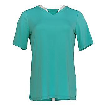 Susan Graver Women's Top Modern Essential Liquid Knit V-Neck Green A376574