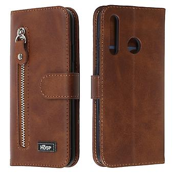 For Huawei P Smart Z Zipper Horizontal Flip Leather Case with Wallet & Holder & Card Slots(Brown)