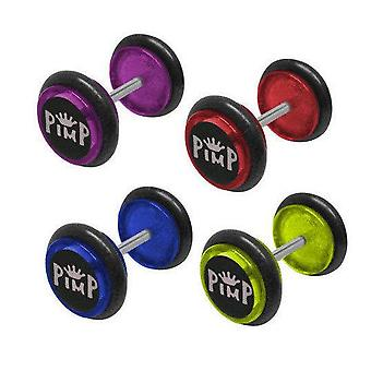 Pair of pimp logo fake/cheater ear plugs - 14 gauge - available in 4 colors