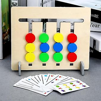 Wooden Montessori Toy Four Color/ Fruit Double Sided Matching Game - Logical