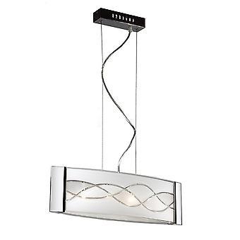 Italux Over - Moderno pendente sospeso Chrome 4 Luce con tonalità chiara, G9