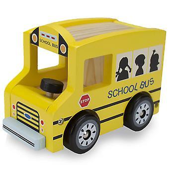 אוטובוס לבית ספר של גלגלי עץ