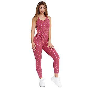Women's two-piece combi casual set tight leggings pants with top fitness suit