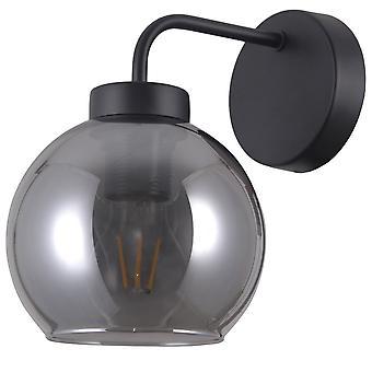 Italux Poggi - skandinavische Wandleuchte schwarz Matt 1 Licht mit rauchigen Schatten, E27